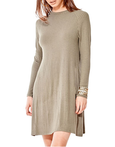 California Moonrise Olive Treasures Raglan A-Line Swing Dress-BEIGE-Large