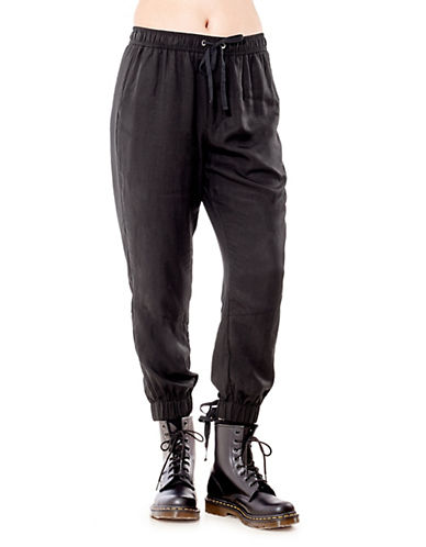 California Moonrise Lace-Up Cuff Joggers-BLACK-Small