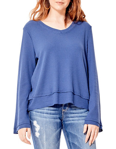 California Moonrise V-Neck Waffle Knit Sweater-BLUE-Medium