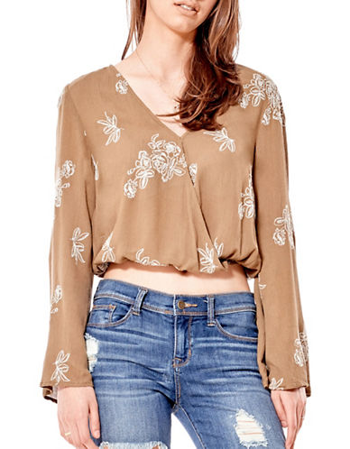 California Moonrise Olive Treasures Wrap-Front Embroidered Crop Blouse-KHAKI/IVORY-Small