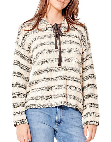California Moonrise Tie-Front Hooded Sweater-KHAKI/CREAM-X-Small