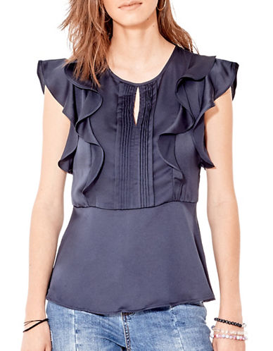 California Moonrise Frill Shoulder Peplum Top-BLUE-Large