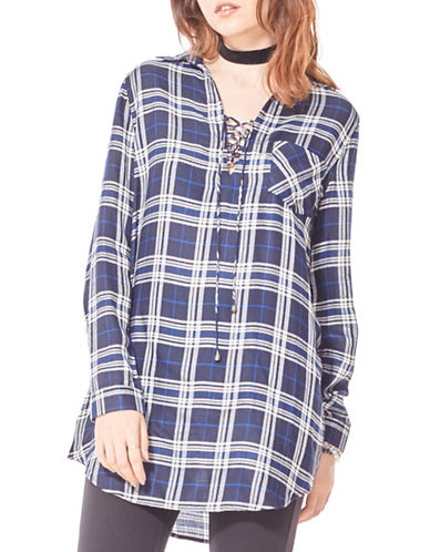 California Moonrise Plaid Tunic Shirt-BLUE MULTI-Medium