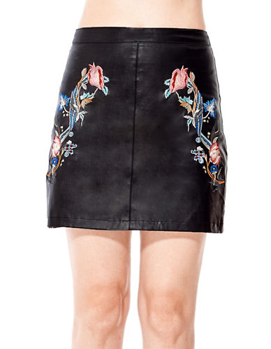 California Moonrise Embroidered Leather Skirt-BLACK-Large