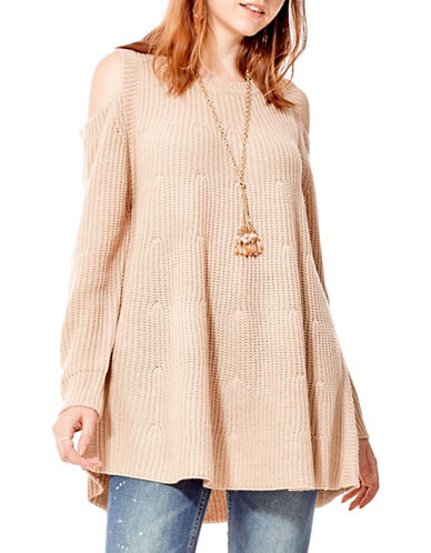California Moonrise Cold-Shoulder A-Line Sweater-TAUPE-Medium