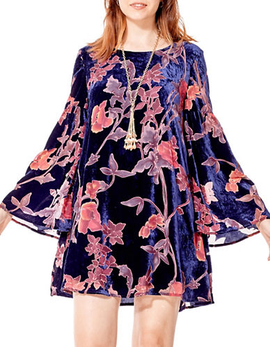 California Moonrise Lined Burnout Floral Dress-NAVY MULTI-Medium