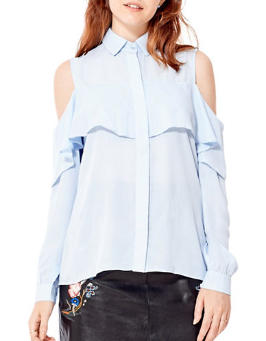 California Moonrise Cold-Shoulder Frill Blouse-BLUE-Small