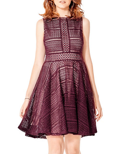 California Moonrise Crochet Lace Skater Fit-and-Flare Dress-MAROON-Large