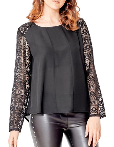 California Moonrise Lace-Up Back Floaty Blouse-BLACK-Small