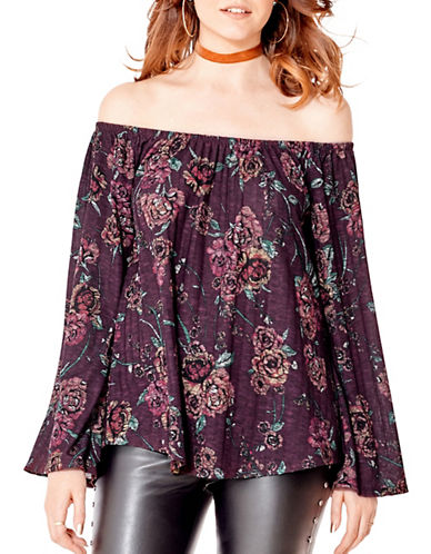 California Moonrise Bardot Off-Shoulder Bell Sleeve Top-PURPLE-Medium