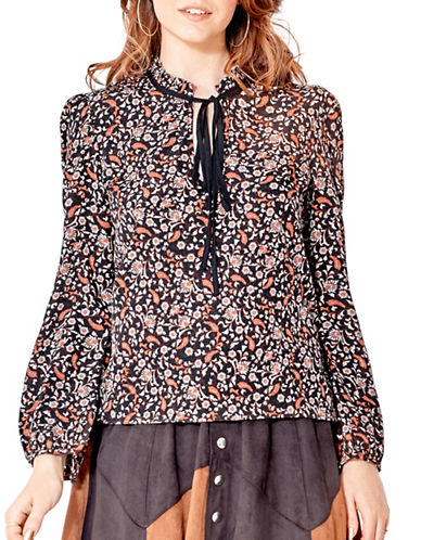 California Moonrise Vintage Floral Mini Frill Blouse-BROWN-Large