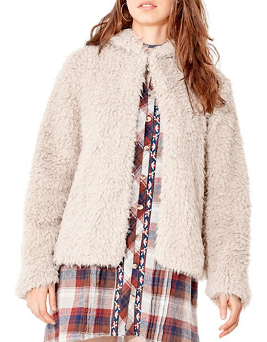 California Moonrise Shaggy Faux Fur Hoodie Jacket-TAUPE-Small