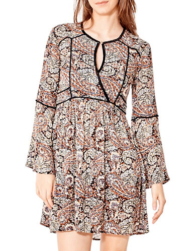 California Moonrise Floral Bell Sleeve Dress-MULTI-X-Small