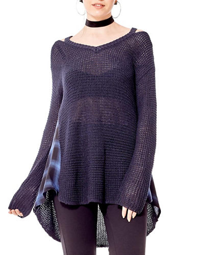 California Moonrise Waffle Knit Cold Shoulder Sweater-BLUE-Small