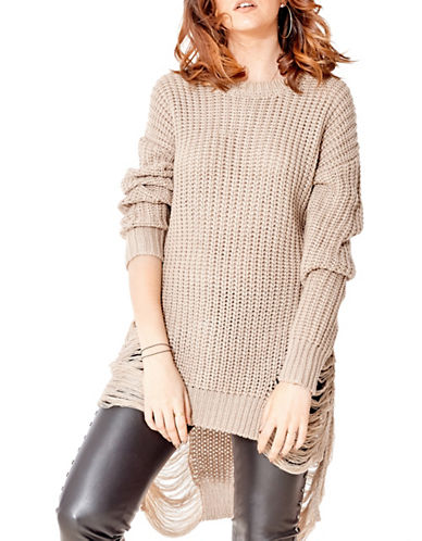 California Moonrise Destroyed Tunic Sweater-TAUPE-Medium