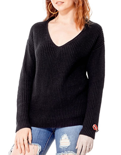 California Moonrise Lace-Up Back Sweater-BLACK-X-Small