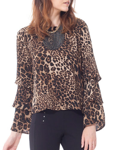California Moonrise Leopard Tiered-Sleeve Blouse-BROWN-Medium