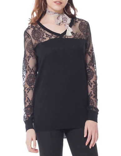 California Moonrise V-Neck Lace Sweater-BLACK-Small