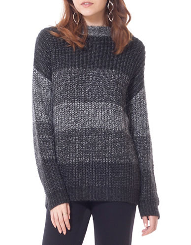 California Moonrise Laced Back Knit Sweater-GREY/BLACK-Large