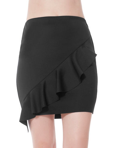 California Moonrise Diagonal Frill Scuba Mini Skirt-BLACK-X-Small