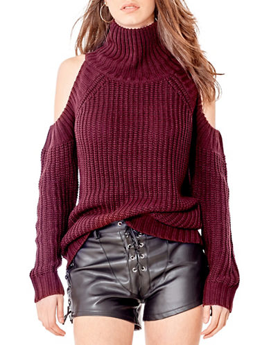 California Moonrise Cold Shoulder Sweater-RED-Small