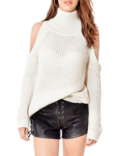 California Moonrise Cold Shoulder Sweater-WHITE-Small