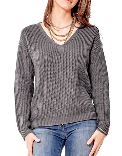 California Moonrise Lace-Up Back Sweater-GREY-Large