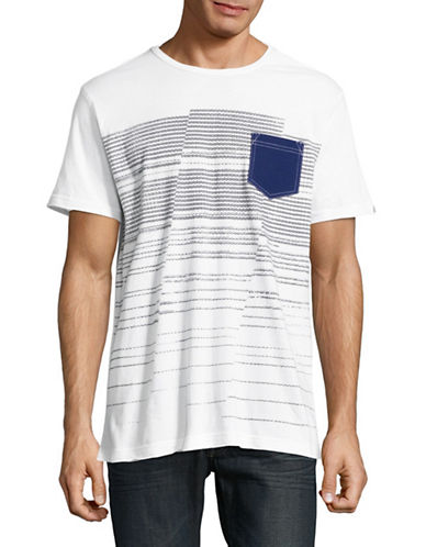 Point Zero Graphic Stripe Pocket T-Shirt-WHITE-X-Large