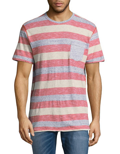 Point Zero Rugby Striped Pocket T-Shirt-RED-Small