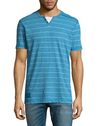 Point Zero Yarn-Dye Striped Split Neck Tee-BLUE-Small