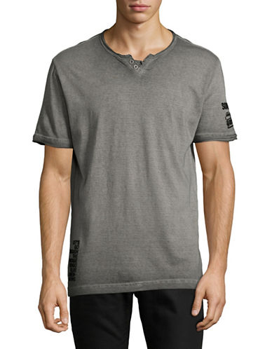 Point Zero Short Sleeve Stripes Burn Out T-Shirt-GREY-X-Large