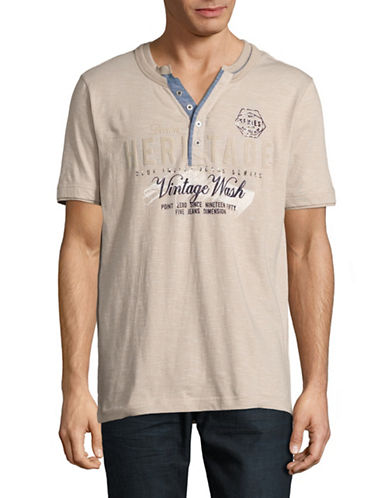 Point Zero Stripe Henley Tee-BEIGE-Large