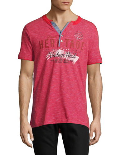 Point Zero Stripe Henley Tee-RED-Large