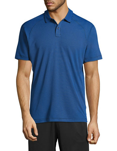 Point Zero Ribbed Knit Stretch Polo-BLUE-Small