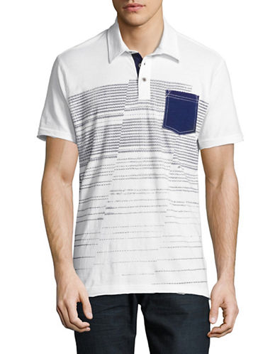 Point Zero Short Sleeve Stripes Printed Polo-WHITE-X-Large