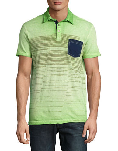 Point Zero Short Sleeve Stripes Printed Polo-GREEN-Large