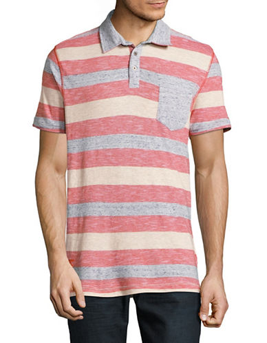 Point Zero Textured Rugby Stripe Polo-RED-X-Large