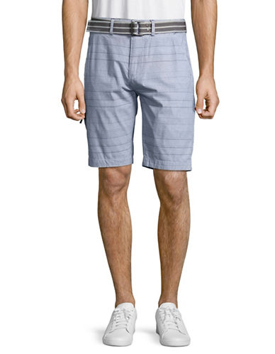 Point Zero Belted Checkered Shorts-WHITE-30
