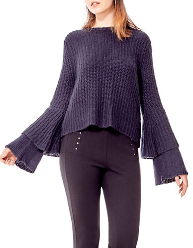 California Moonrise Tiered Sleeve Crop Sweater-BLUE-Medium