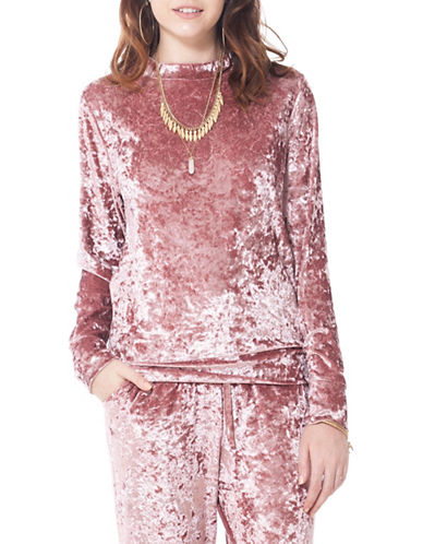 California Moonrise Crushed Velvet Pullover Top-PINK-Small