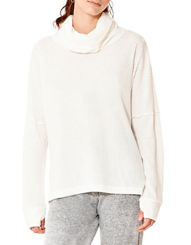 California Moonrise Waffle Knit Top-WHITE-Small