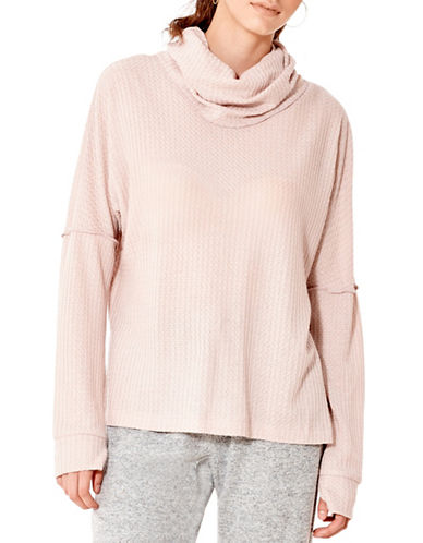 California Moonrise Waffle Knit Top-PINK-Large