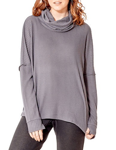 California Moonrise Waffle Knit Top-GREY-X-Small
