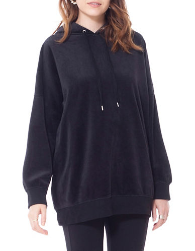 California Moonrise Velvet Knit Oversized Hoodie-BLACK-Medium