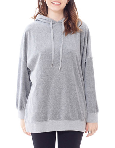 California Moonrise Velvet Knit Oversized Hoodie-GREY-Large