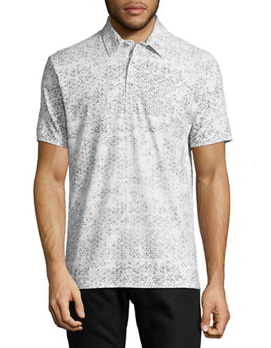 Point Zero Printed Stretch Jersey Polo-WHITE-Large