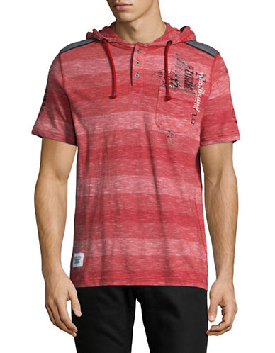 Point Zero Striped Henley Hoodie-RED-Small