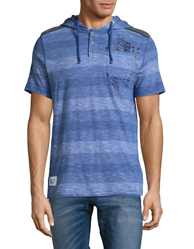 Point Zero Striped Henley Hoodie-BLUE-Medium