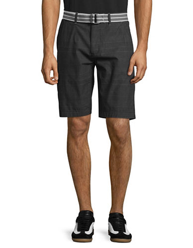 Point Zero Belted Checkered Shorts-GREY-34