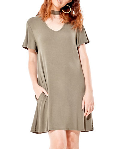 California Moonrise V-Neck Choker Dress-BEIGE-Large